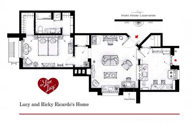 plano de la casa de Lucy y Ricky en I love Lucy