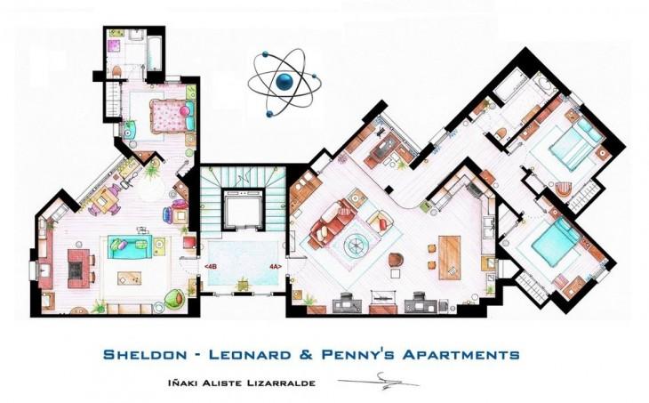 Plano de los departamentos de Leonard y Sheldon en la teoría del big bang