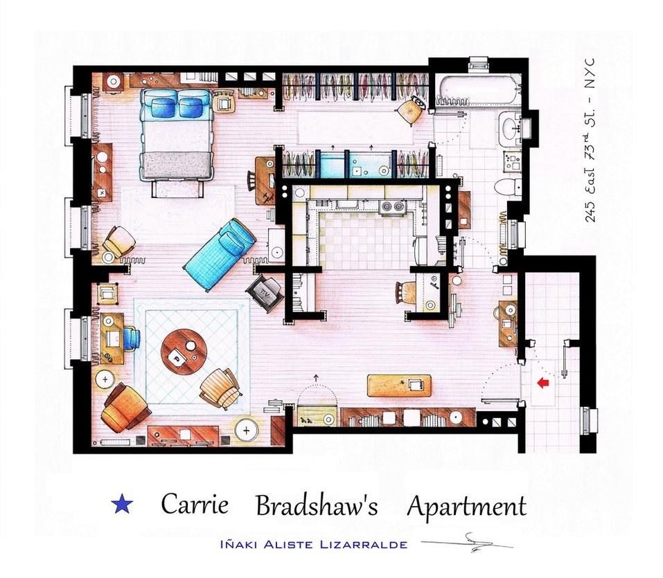 Planos de los departamentos de las mejores series de tv Real life friends apartment