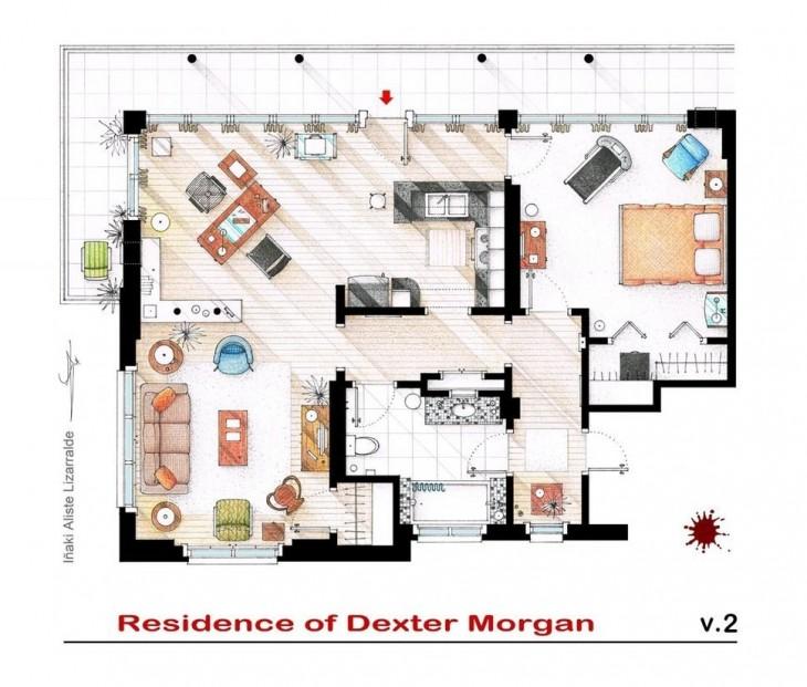 plano de la residencia de Dexter Morgan