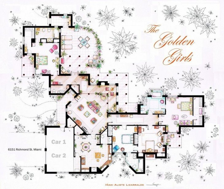 plano de la casa de la serie The Golden Girls