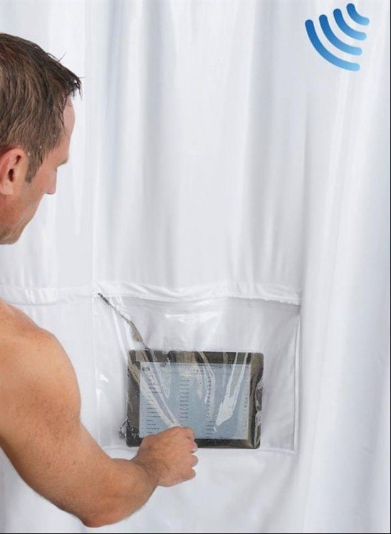 cortina de baño impermeable para tablet