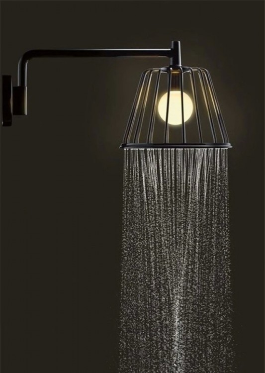 regadera de baño moderna con luz propia