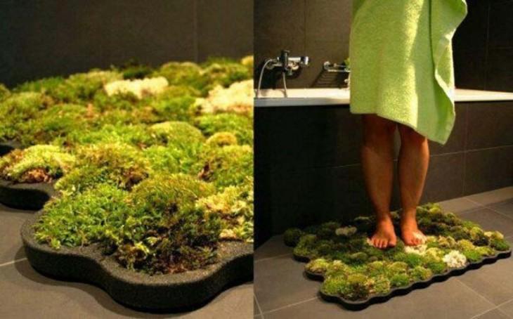 alfombra de musgos para secar tus pies después de la ducha