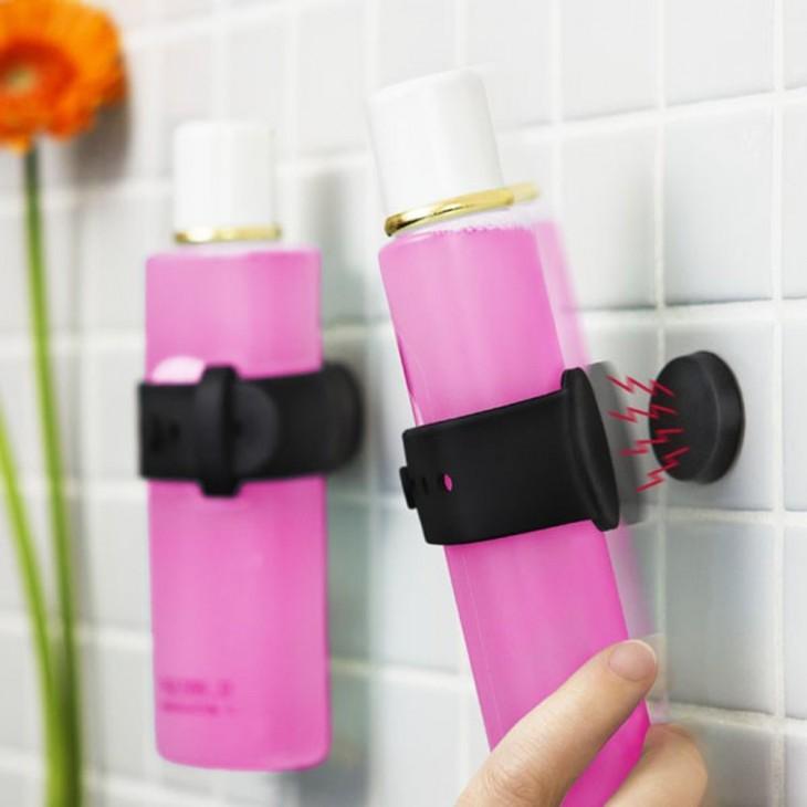 soportes magnéticos para colgar el shampoo durante la ducha