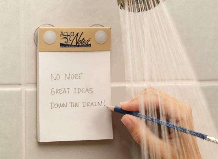 bloque de notas para anotar tus ideas durante la ducha
