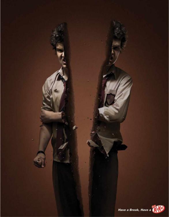 anuncio puclitario de un chocolate Kit KAt