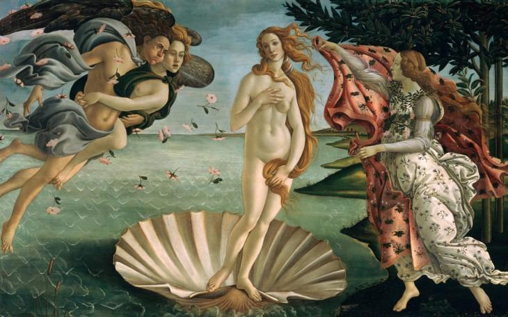 Obra El nacimiento de Venus por Sandro Botticelli.