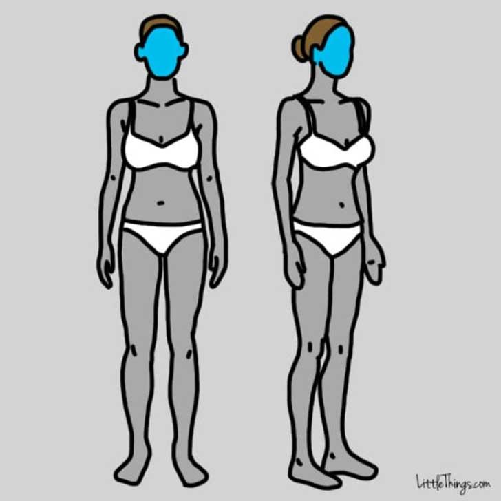 dibujos del cuerpo de una chica con la cara pintada en color azul