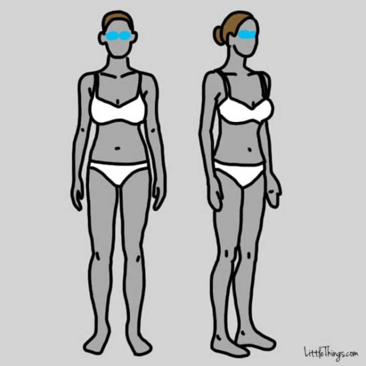 dos dibujos del cuerpo de dos mujeres con los ojos pintados en color azul