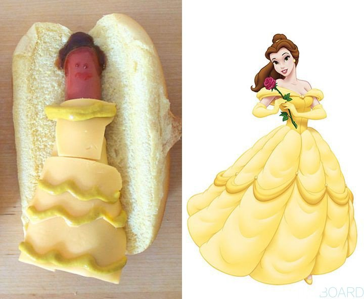 Princesa bella recreada en un hot dog