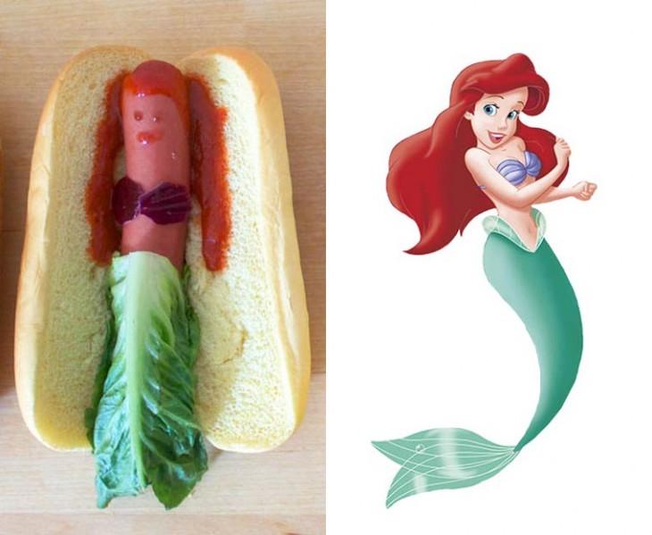 imagen de ariel la sirenita recreada en un hot dog