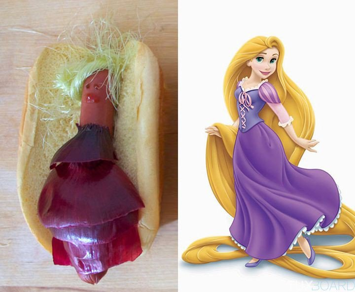 Rapunzel recreada en un hot dog
