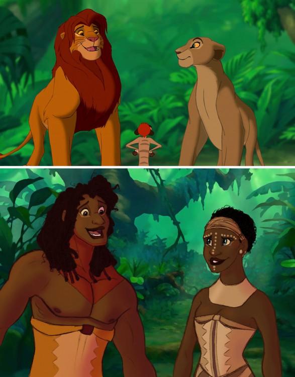 ilustración de cómo serían los personajes del Rey León si fueran humanos