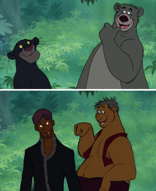 ilustración de cómo serían los personajes principales del libro de la selva