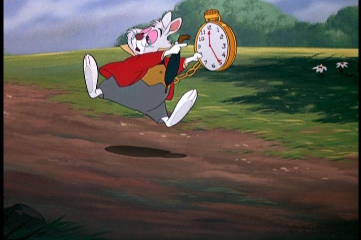 conejo de alicia en el país de las maravillas corriendo con un reloj en la mano