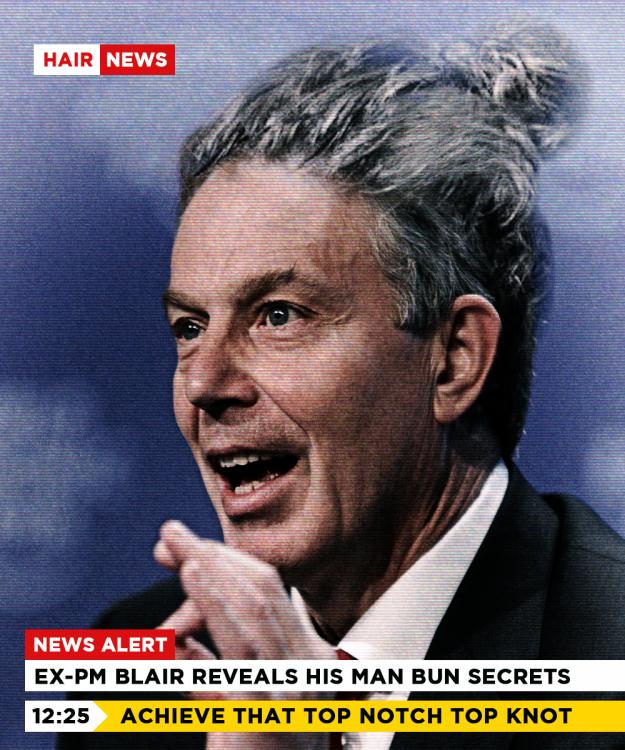 Tony Blair revelando sus secretos de como tener un buen cabello largo