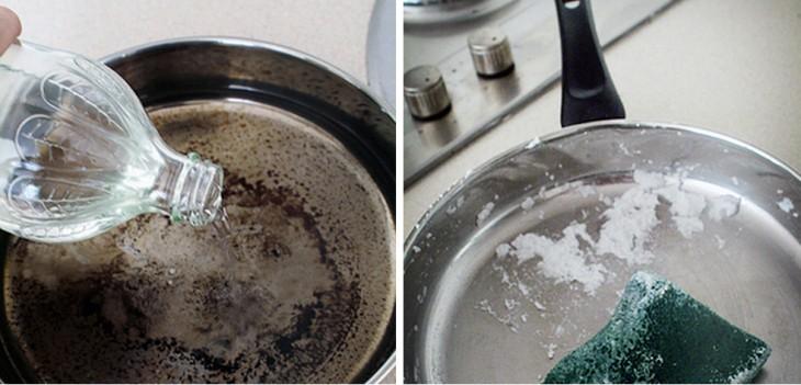 proceso para eliminar lo quemado de los sartenes