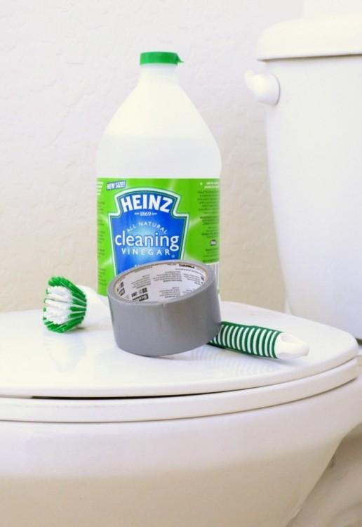 vinagre, cinta americana y un cepillo sobre un inodoro de un baño