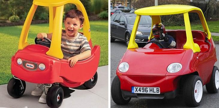coche de juguete con su versión en tamaño real