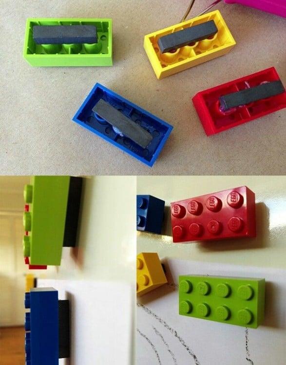 Imanes hechos con figuras de colores LEGO