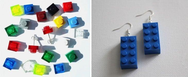 aretes hechos con piezas LEGO de diferentes tamaños