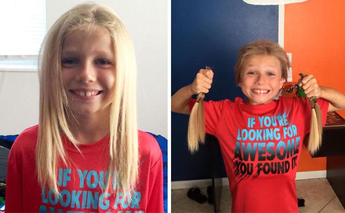 niño dona su cabello a niños con cáncer para formar sus pelucas