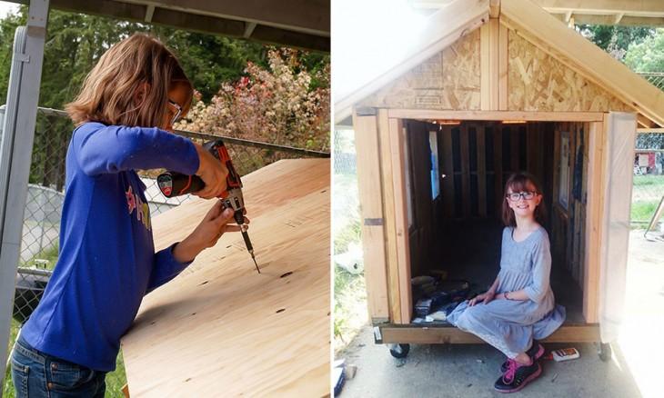 ella construye casa para los indigentes y cultiva comida para dárselas para comer