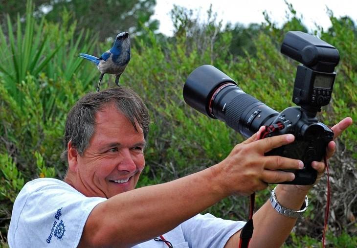 TOMANDOLE LA FOTO A PAJARITO AZUL ARRIBA DE SU CABEZA