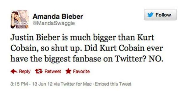 fanatica de justin aseverando que ni kurt cabain ha sido tam popular en twitter que jb