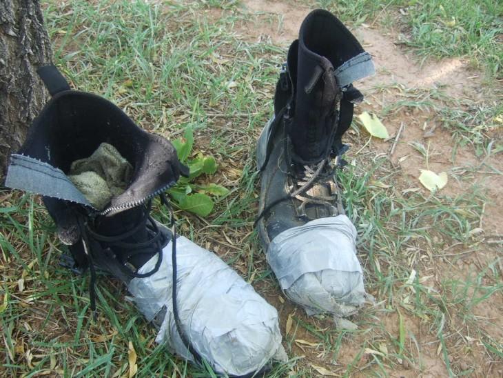 botas impermeabilizadas acon duc tape