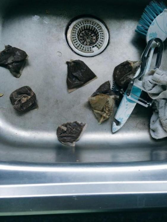 bolsas de te en el fregadero