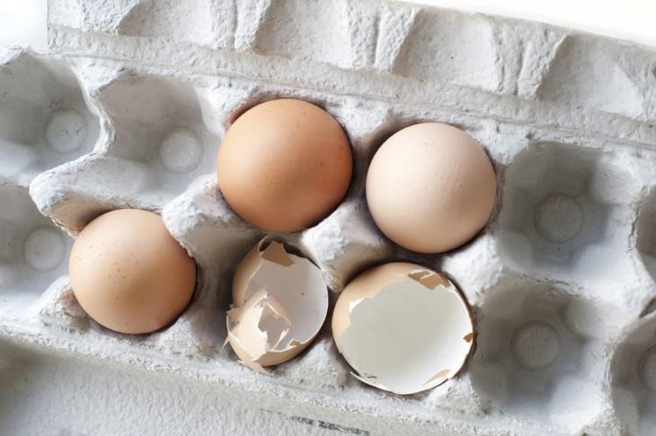 cascaras de huevo vacias en el refrigerador