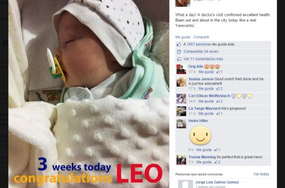 persona publica en facebook foto de su bebé recien nacido