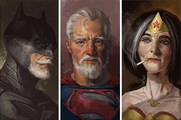 ilustración que muestra a batman, superman y la mujer maravillas en su vejez