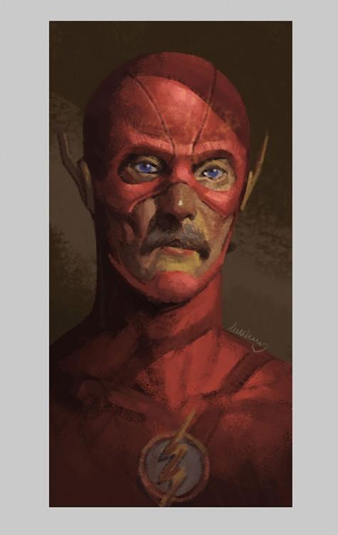 ilustración que muestra como luciría Flash en su vejez