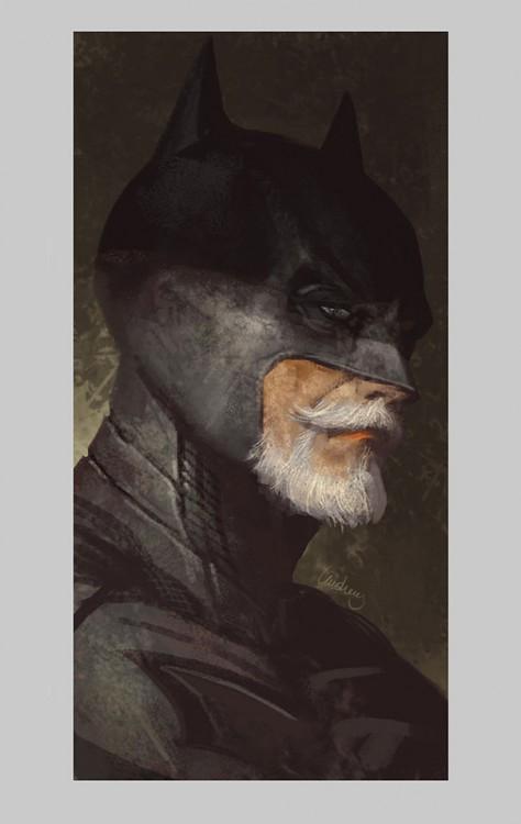 Ilustración que muestra como se vería batman cuando esté viejo