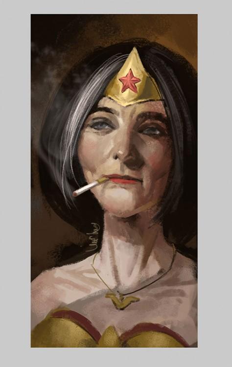 ilustración de la mujer maravilla en su vejez