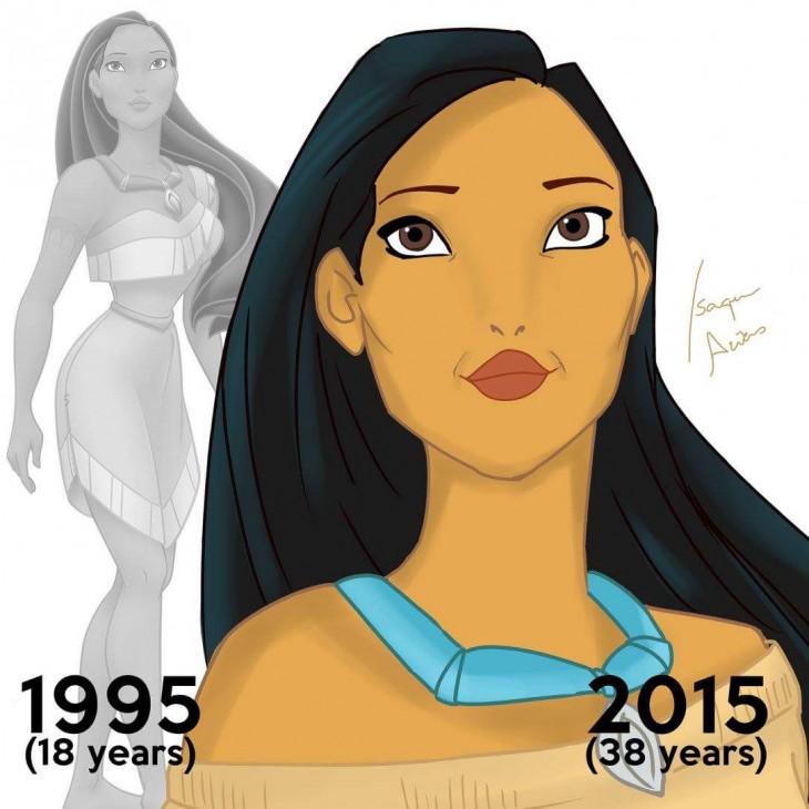 ilustración de pocahontas en el 2015 a sus 38 años