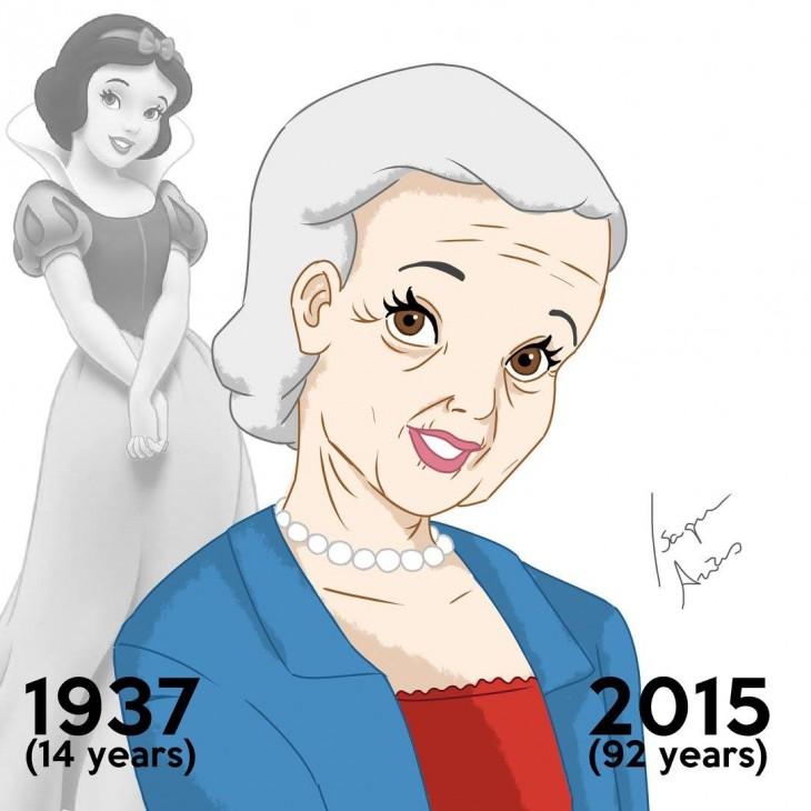 Ilustración de Blancanieves en el 2015 a sus 92 años