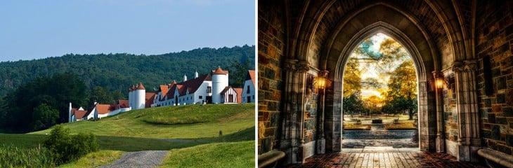 imagen dividida en dos partes que muestra las instalaciones del Colegio Berry