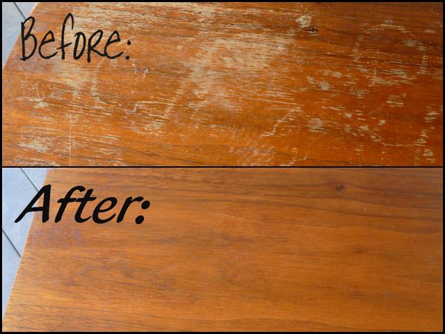 antes y después de limpiar los arañazos en tus muebles de madera