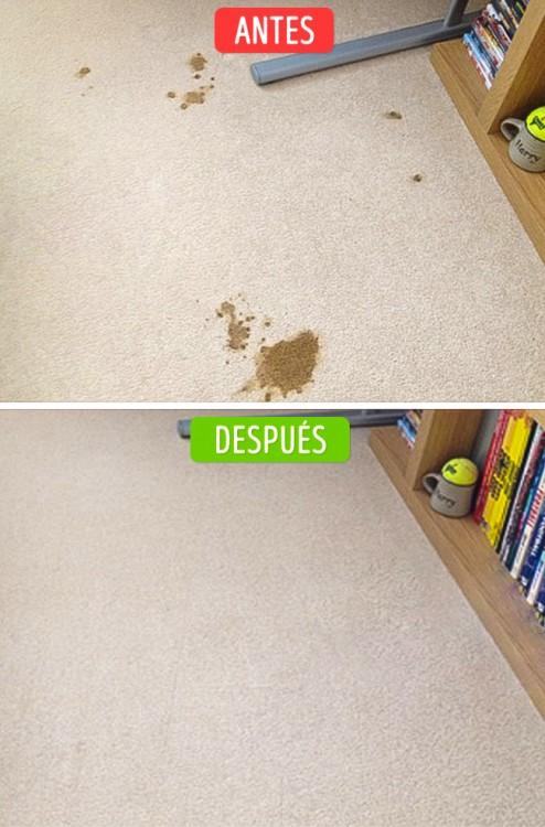 foto del antes y después de unas manchas en la alfombra