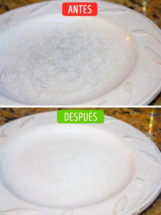 fotos del antes y después de eliminar los rayones en los platos de porcelana