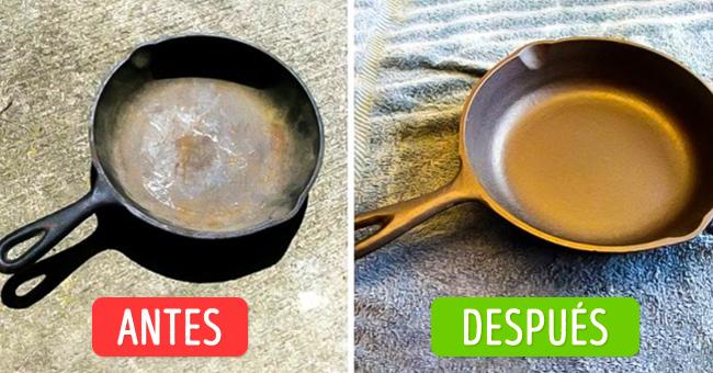antes y después de limpiar un sartén de hierro fundido
