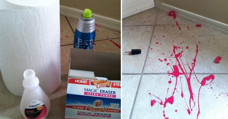 cosas ideales para eliminar las manchas de esmalte en el piso