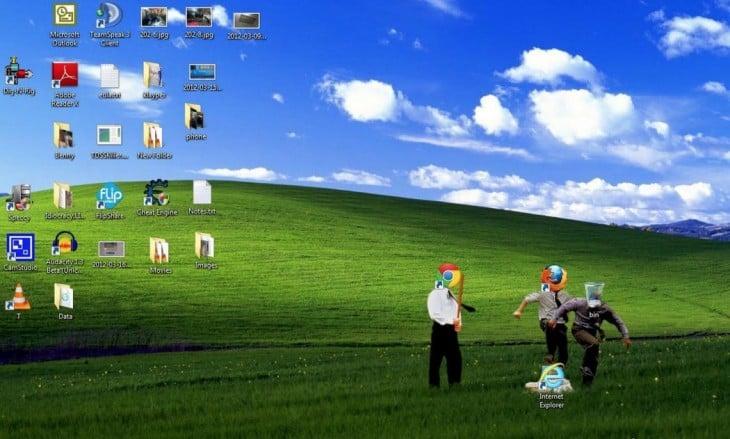 wallpaper três pessoas ícones atropelamento exploradores ícone do Internet Explorer