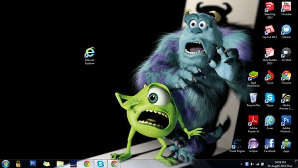 Mike Sullivan Monstros SA e olhando cara assustadora ícone do Internet Explorer
