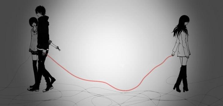 ilustración animada de dos personas atadas con el hilo rojo mientras una chica intenta cortarlo