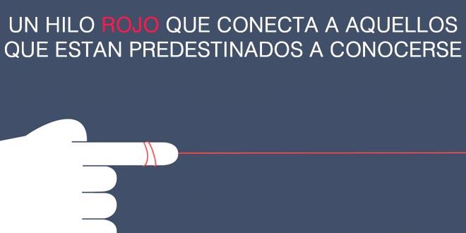 ilustración de un dedo con un hilo rojo atado a un dedo con la frase que el hilo rojo conecta a las personas